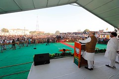 Chaudhary Rakesh Singh addressing a rally with Amit Shah