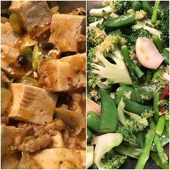 Turns out @guentheralex is our family #sichuanfood chef! #vegan #mapotofu & green #veggies for dinner tonight! :heart_eyes::yum::heart:️ #whatveganseat