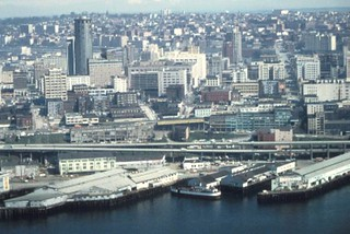 Aerial of Alaskan Way Viaduct and waterfront, 1973