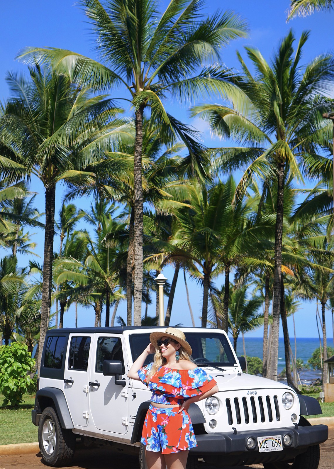 Red Floral Two Piece Set White Jeep Hawaii Outfit Hilton Garden Inn Kauai Wailua Bay Best Things to do in Kauai Hawaii