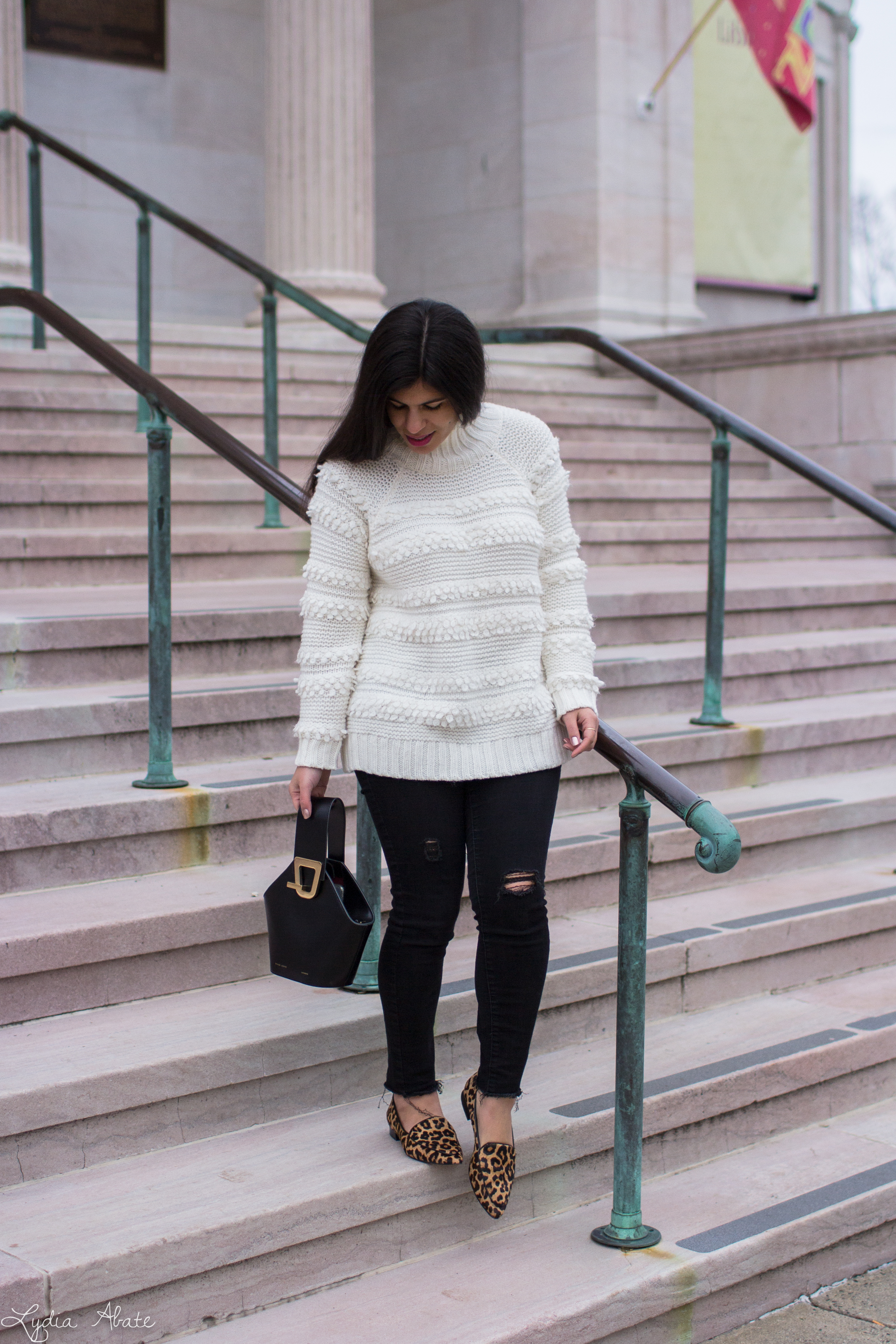 white turtleneck sweater, black jeans, leopard loafers, danse lente johnny bag-6.jpg