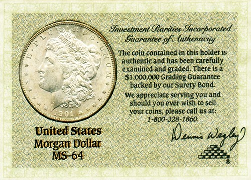 1901-O Morgan Dollar with Wegley certificate