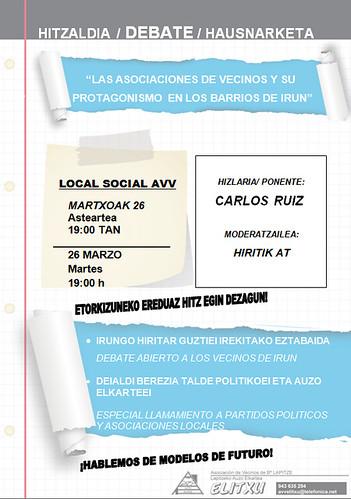 Cartel anunciador charla AVV Elitxu, Irun
