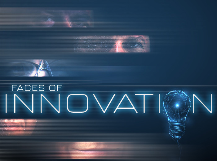 A graphic that reads Faces of Innovation with a lightbulb acting as the second O.