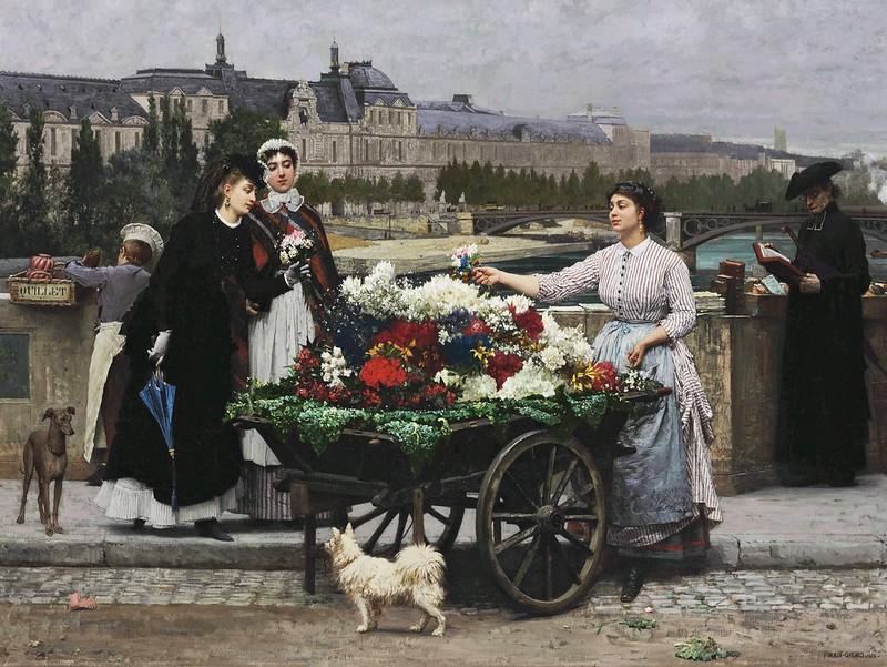 Marie-François Firmin-Girard - Flower Seller on the Pont Royal (1872)