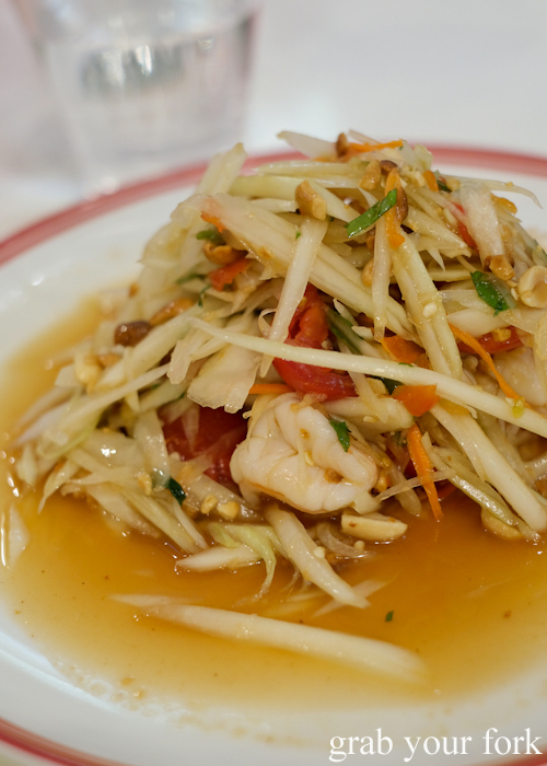 Som tum prawn papaya salad at the all you can eat prawn and crab buffet at Mojo Restaurant Sydney