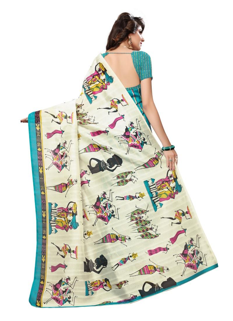 Blue Color Printed Bhagalpuri Silk Saree With Blouse