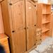 Tall waxed pine two door wardrobe E245