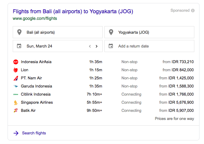 Flight Bali to Yogyakarta