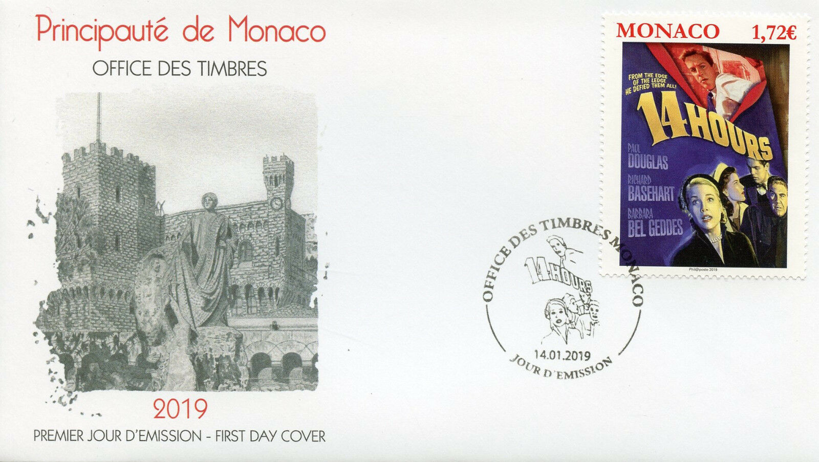 Monaco - Grace Kelly Movies: 14 Hours (January 14, 2019) first day cover