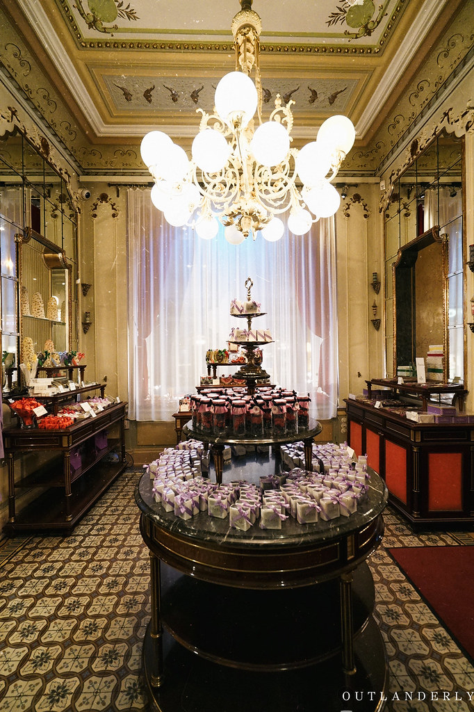 Demel's cafe chocolate display