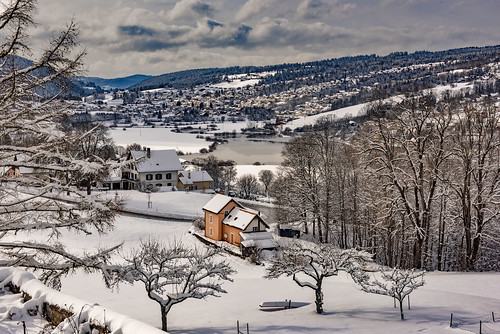 Winter landscape , Vue hivernale sur la France depuis Les Brenets (Switzerland, France)  Izakigur .29.01.19, 15:20:18 No. 190.