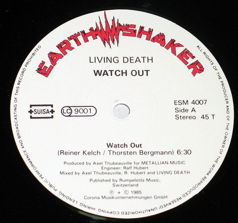 "Living Death Watch Out Swiss Pressing Earth Shaker 12"" Vinyl LP"