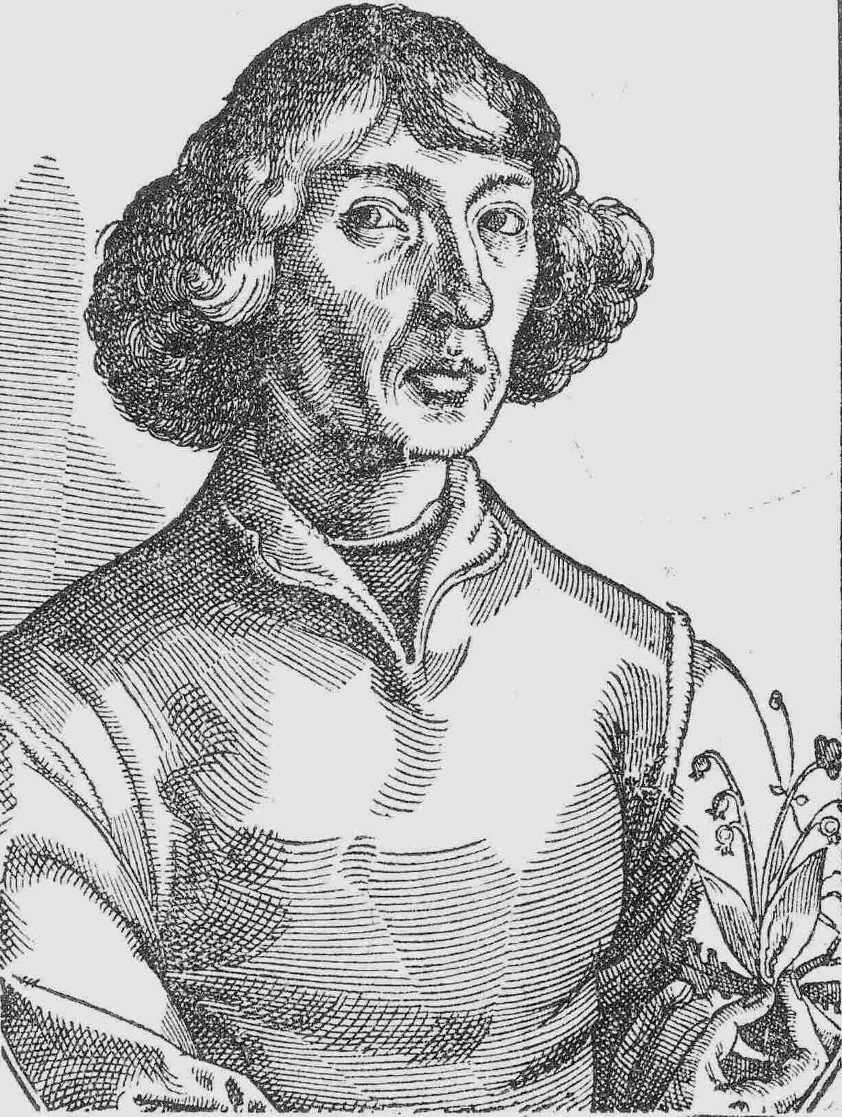 Portrait of Copernicus holding a lily of the valley, published in Nicolaus Reusner's Icones (1587), based on a sketch by Tobias Stimmer (c. 1570), allegedly based on a self-portrait by Copernicus. This portrait became the basis of most later depictions of Copernicus