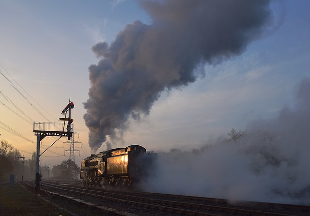 Early morning sees Locomotive No.70013 'Oliver Cromwell' passing through Swithland, travelling light engine from Loughborough for the days first train. The Last Hurrah - Great Central Railway. 18 11 2018