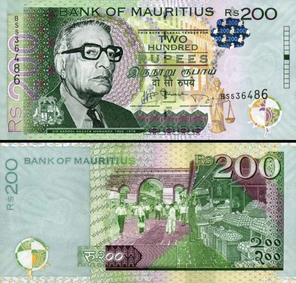 200 Rupií Maurícius 2013, P61b