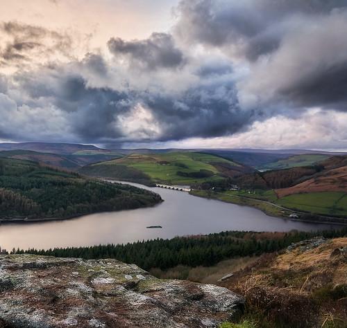 Golden hour stormy clouds over Peak District, UK