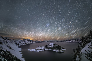 Star trails over Crater Lake