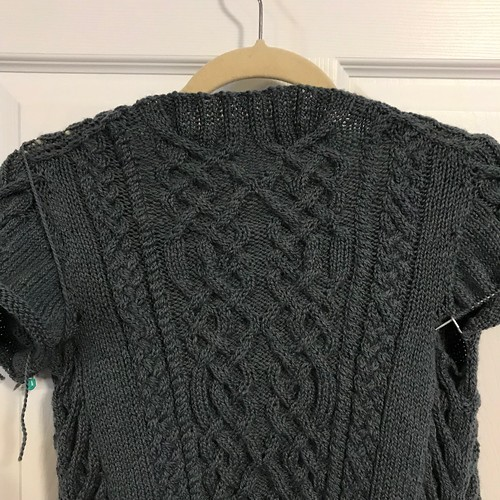 A couple of progress shots of Nadine's Sode knit with Kelbourne Woolens Scout