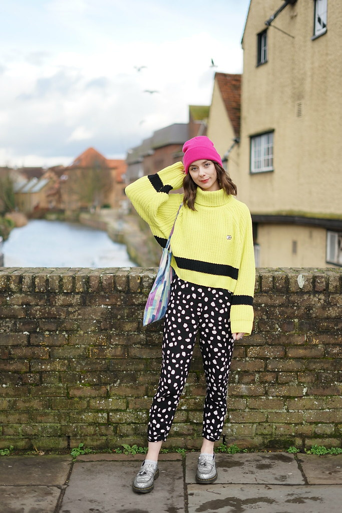 Lazy Oaf Lime Knit & Collusion spotty trousers 4