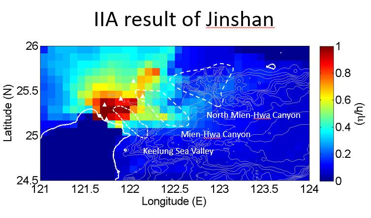 吳祚任與研究團隊用海嘯影響強度評估法分析金山地區。圖片提供:吳祚任。