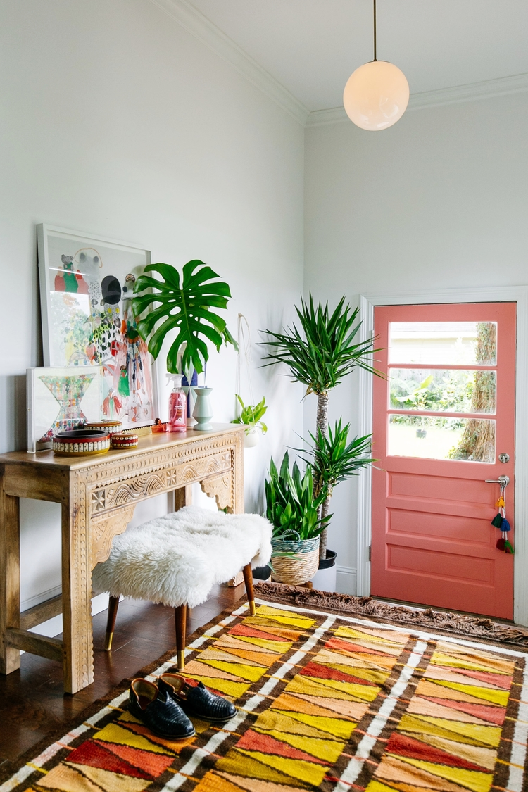 Colorful Mudroom Decor Living Coral Interior Front Door Living Coral Faux Fur Bench Neutral White Bedroom How to Decorate with Living Coral Pantone's Color of the Year