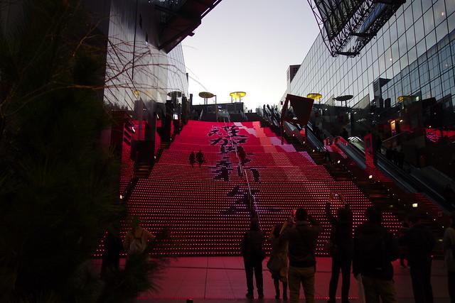 京都駅ビル大階段のお正月イルミネーション (2019/01)