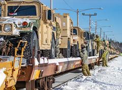 Soldiers work on railhead