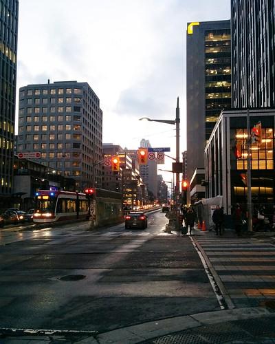 Looking west, Yonge and St. Clair, 6 pm #toronto #yongeandstclair #yongestreet #stclairavenue #evening #latergram