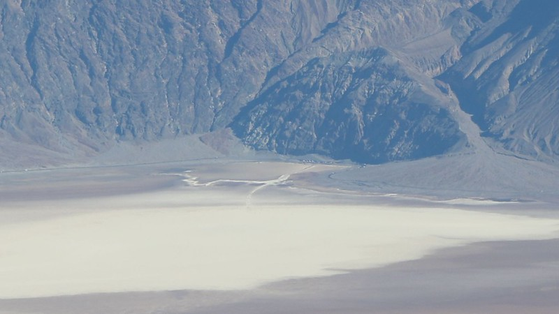 Zoomed-in view of Badwater, 17 miles away down in Death Valley, from the Telescope Peak Trail