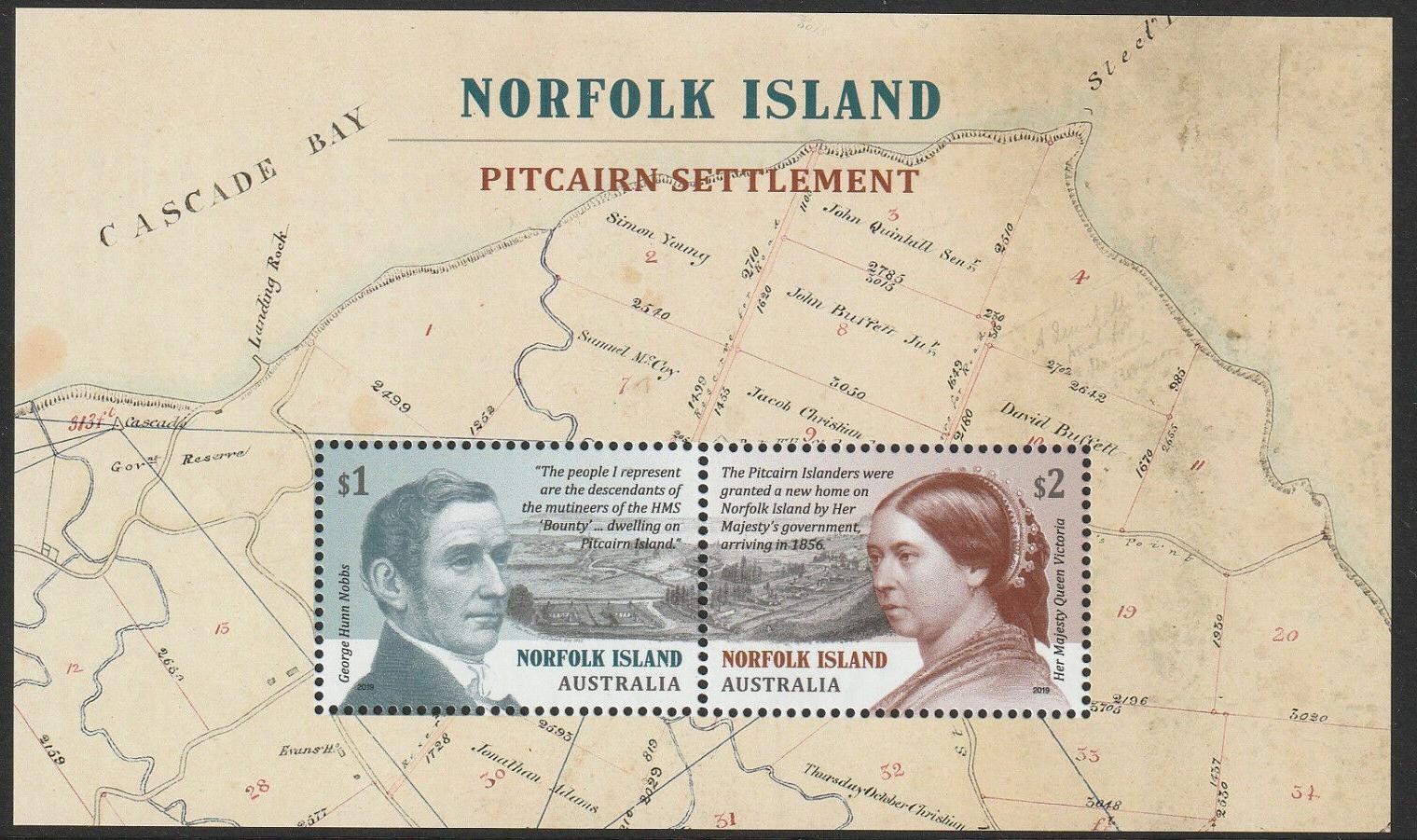 Norfolk Island - Pitcairn Settlement (January 22, 2019) souvenir sheet of 2