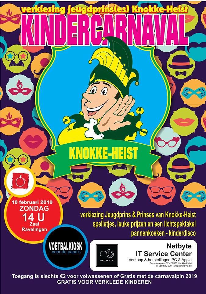 Kindercarnaval Verkiezing Jeugdprins(es) Knokke-Heist (Zaal Ravelingen, Heist Aan Zee) 10/02/2019