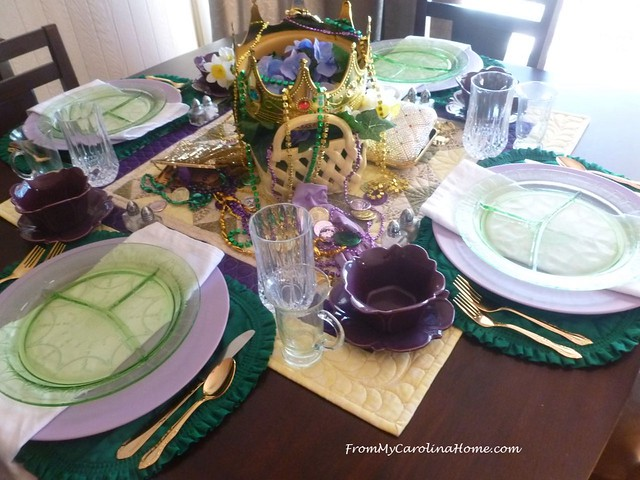 Mardi Gras Tablescape at FromMyCarolinaHome.com