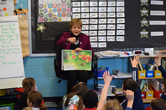 """Rep. Zawistowski celebrated Read Across America Day on Friday, March 1st with Mrs. Wosko's 1st grade class at Spaulding Elementary School. Rep. Zawistowski read a book called """"Wiggles"""" about a happy dog that lives on a farm."""
