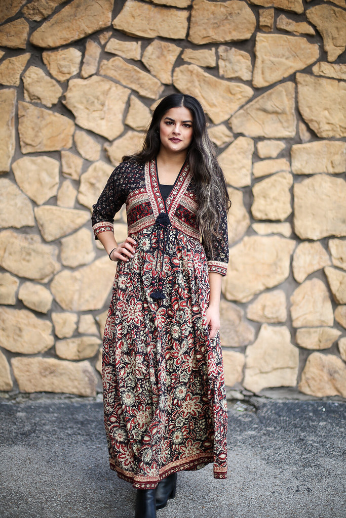 Priya the Blog, Nashville fashion blog, Nashville fashion blogger, Winter outfit, Winter outfit with boho dress, Indian dress, Anokhi India dress, Nashville style blogger, Nashville style blog, long boho style dress