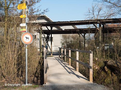 LOR594 Uferweg Pedestrian Bridge over the Old Lorze River, Zug, Canton of Zug, Switzerland