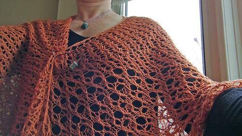 Handspun asymmetrical triangle knitted lace Lacymmetry shawl in BFL/Silk madder dye by irieknit