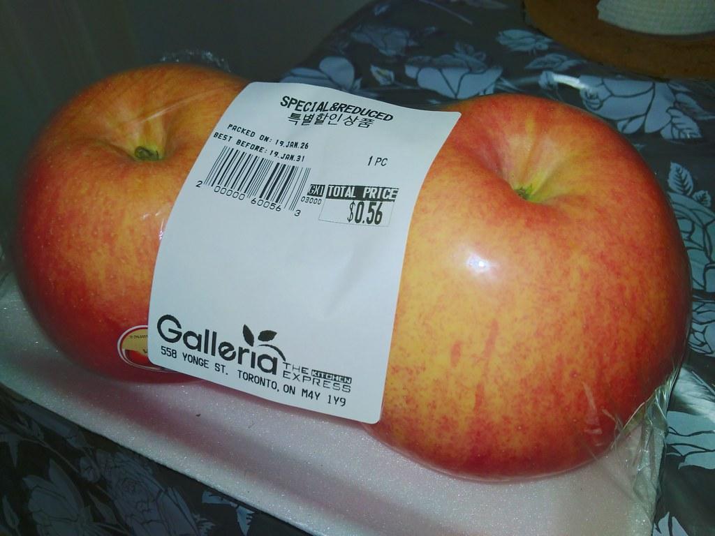 巨型红富士苹果2个0.56加元