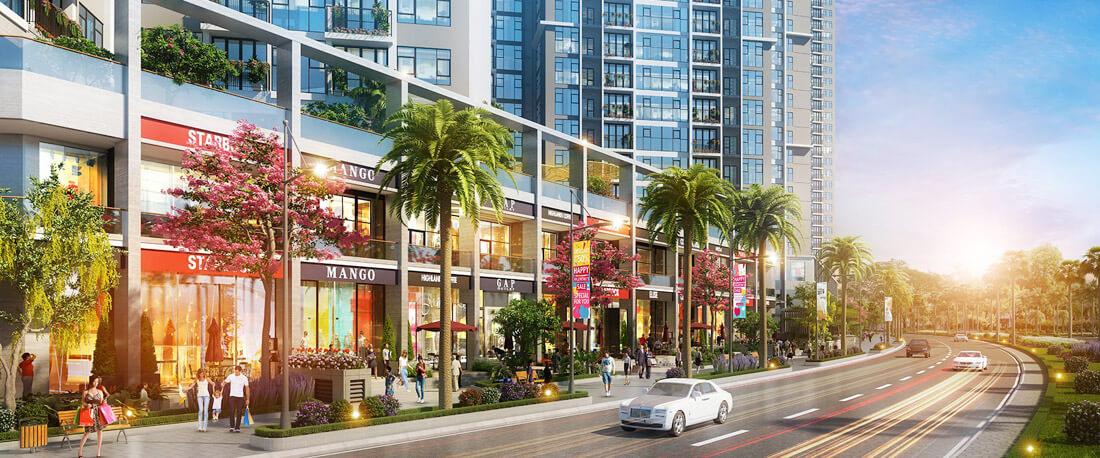 Phối cảnh khối đế thương mại và shophouse tại dự án Eco Green Sài Gòn q7.