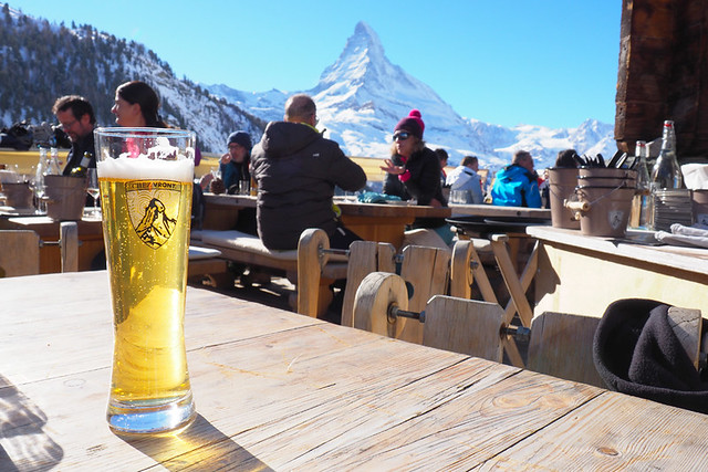 Beer at Chez Vrony, Zermatt, Switzerland