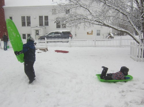 sledding on fresh snow