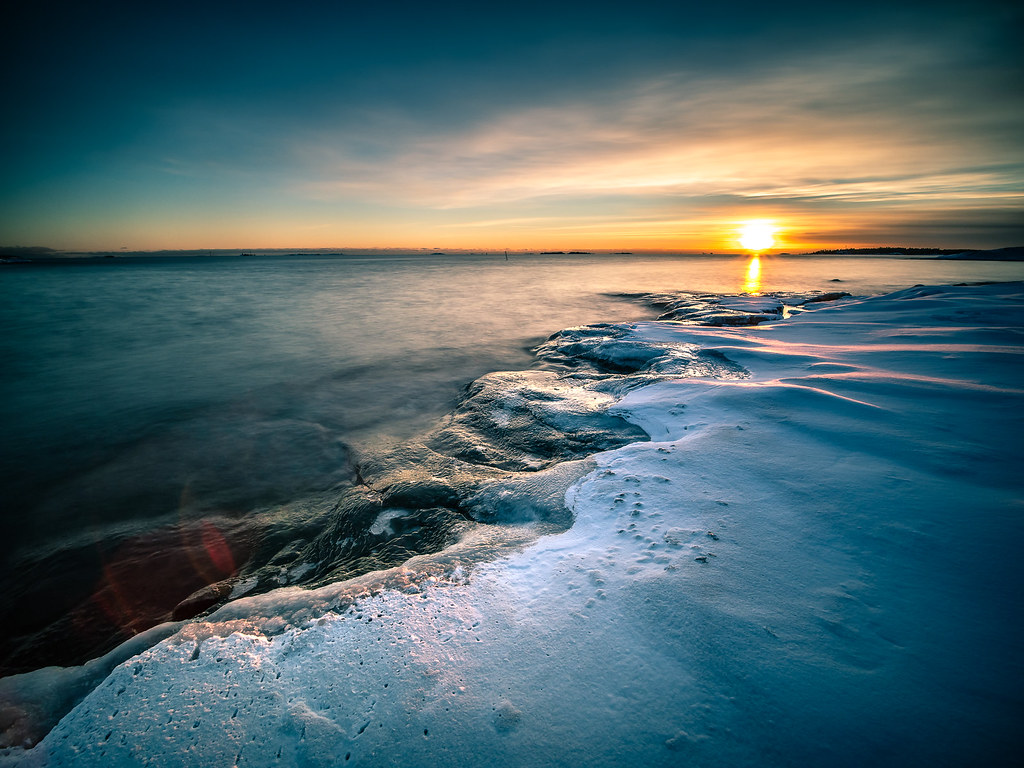 Sunset on the rocks, Helsinki, FInland picture