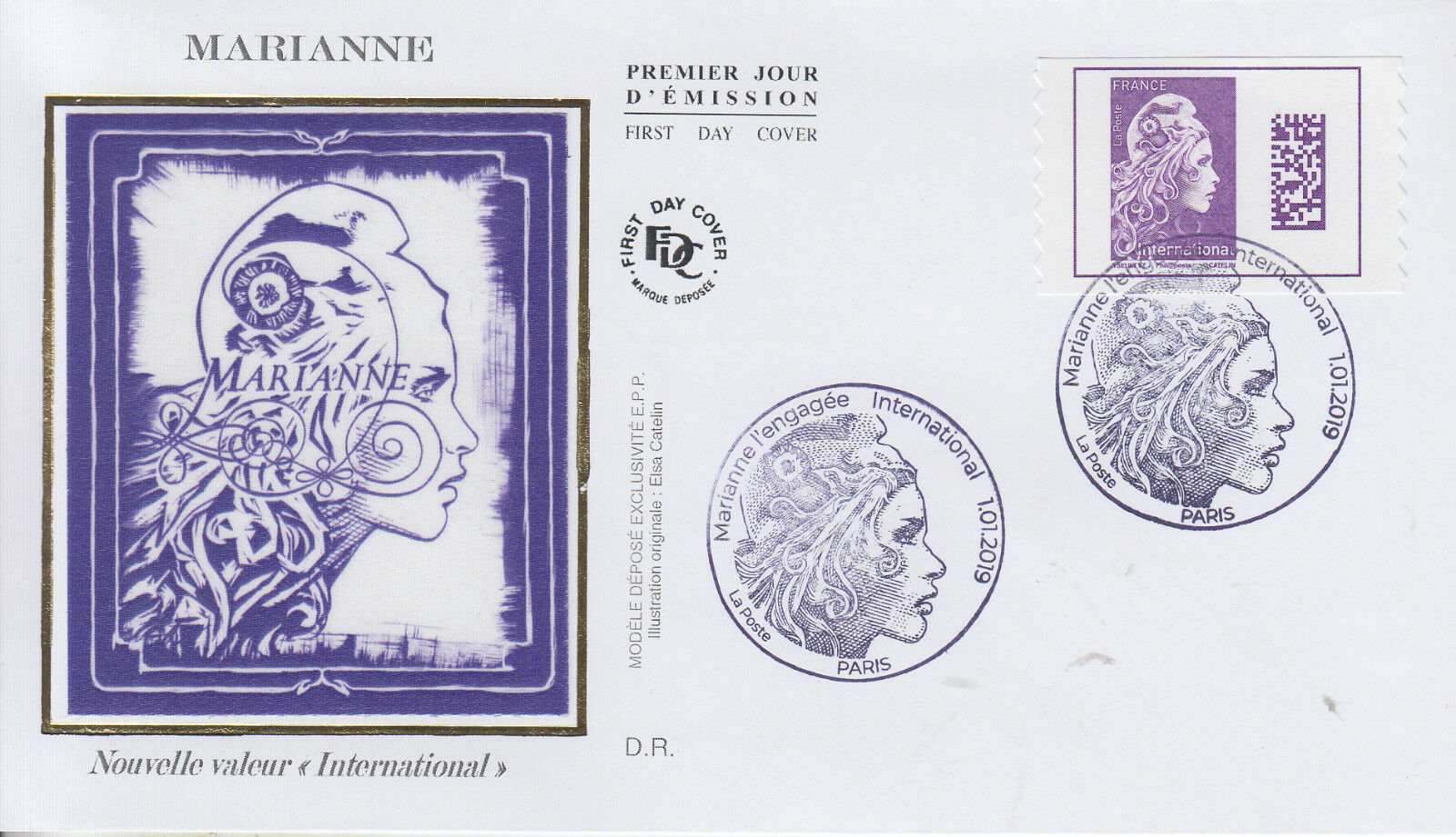France - Marianne Definitive, International Rate (January 1, 2019) first day cover