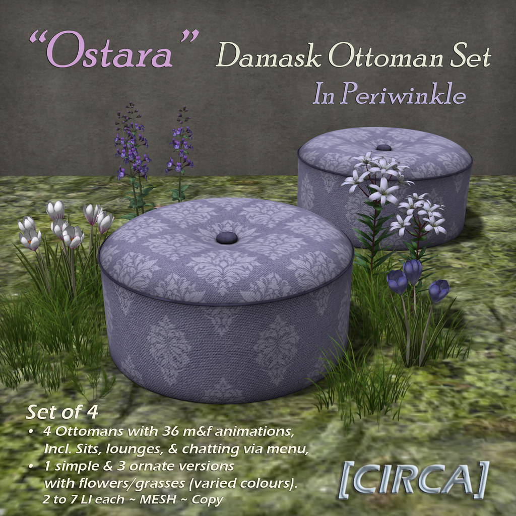 "@ Ostara's Alter Event | [CIRCA] – ""Ostara"" – Damask Ottoman Set – In Periwinkle"