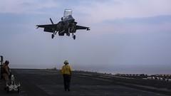 An F-35B Lightning II prepares to land aboard USS Essex (LHD 2).