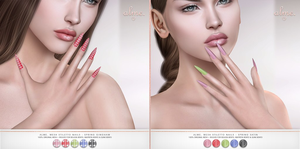 "Alme. in Second Life for Bloom powered by Prism Events SL ""Alme Mesh Stiletto nails//Spring Gingham & Satin"" ♥"