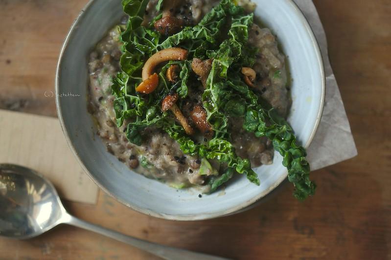 creamy lentil w/ kale and mushroom