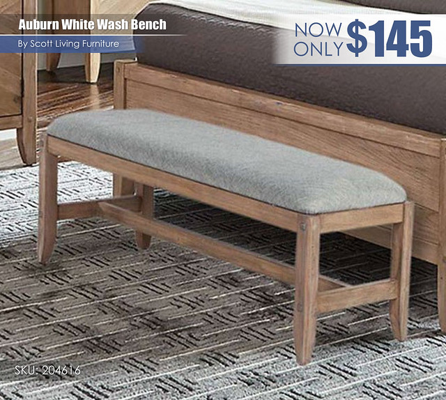 Auburn White Wash Bench_Scott Living_204616
