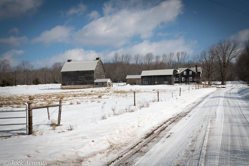 pennsylvania farm house barn winter cold fence road trees forest sky blue clouds landscape scenic outdoors snow woods travel architecture vacation