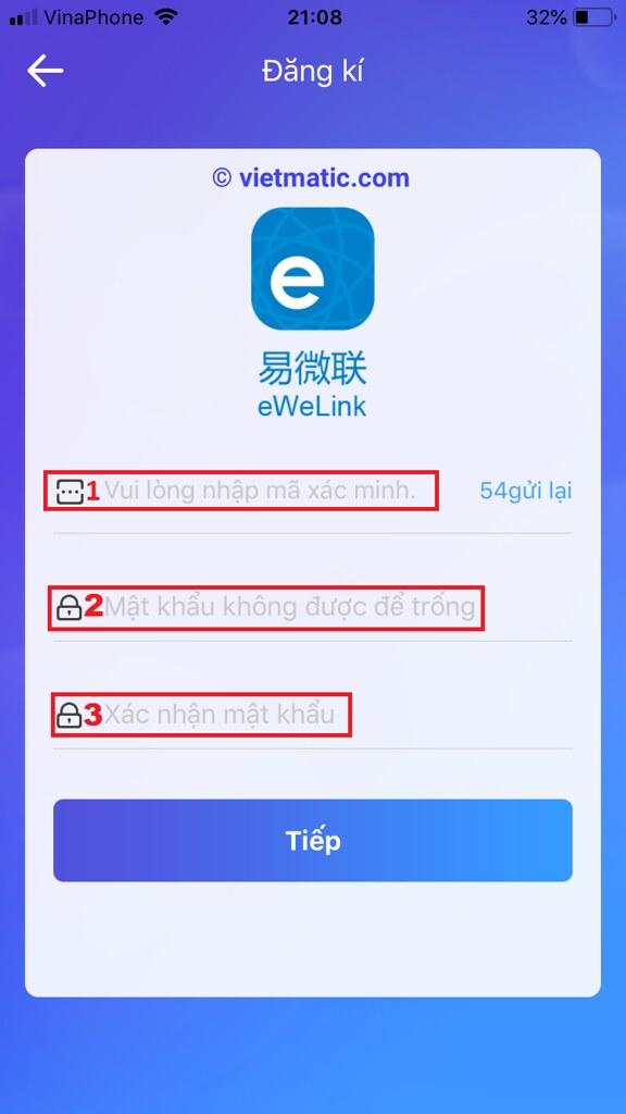 Tạo mật khẩu tài khoản eWelink